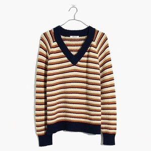 madewell v-neck striped pullover sweater
